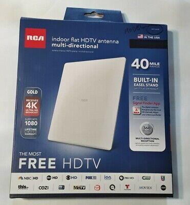 RCA - Flat Antenna for Free HDTV - Indoor - Multi-Directional - 40 Miles Range