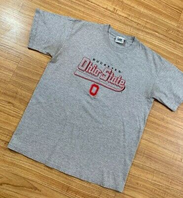 Vintage Ohio State OSU Embroidered T Shirt Gray Short Sleeve Size Medium Tee Ohio Embroidered T-shirt