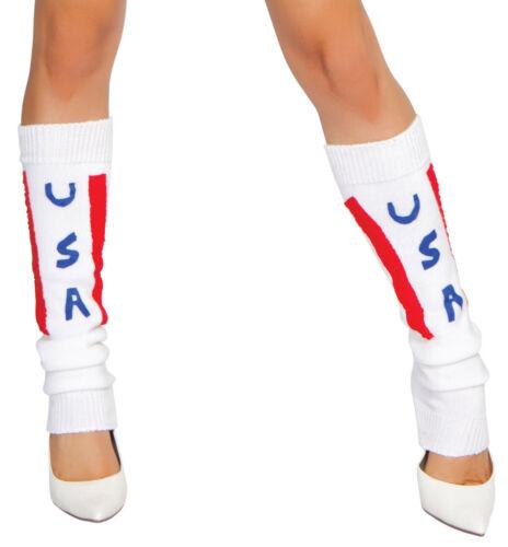 Cheerleader Leg Warmers USA Legwarmers Patriotic Knit Legwarmer