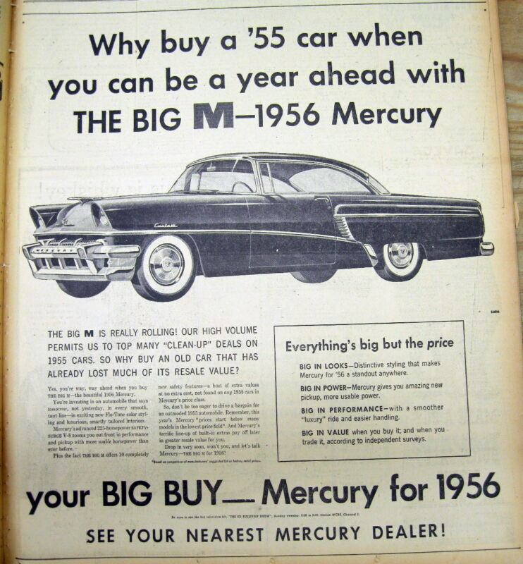 1955 NY Times newspaper w Lrg illustrated display ad for 1956 MERCURY automobile