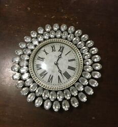 Silver and Rhinestone Clock, Small Wall Hanging