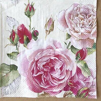 1 single Decoupage Paper Cocktail Napkin Tea Rose Floral Shabby Chic