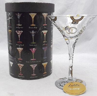 Lolita Wedding Hand-Painted Martini Glass with Attitude Recipe on Bottom NIB