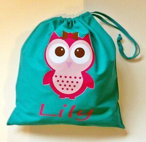 PERSONALISED GIRLS PINK OWL PE PUMP GYM SCHOOL NURSERY DRAWSTRING COTTON BAG