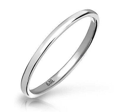 925 Sterling Silver Plain 2mm Thin Bridal Band Womens Fashion Thumb Ring Sz 3-13 2 Mm Thumb Ring