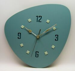 New, Handmade, 1950's Style wall clock, mid century, sage green, retro clock
