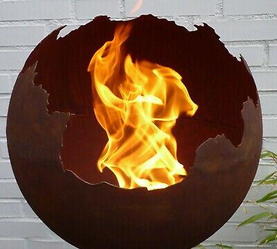 Feuerkugel Ø 50cm Feuer Pflanz Schale Kugel Metall Rost Optik Edelrost Garten