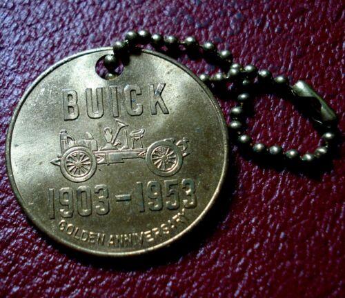 1953 GILT BRASS BUICK GOLDEN ANNIVERSARY ADVERTISING KEY FOB (BRADLEY BUICK CO.)