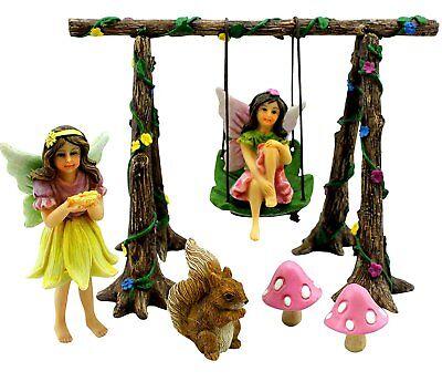 Fairy Garden Set Miniature Garden Fairies Swing Kit Mushrooms Squirrel Handmade  ()