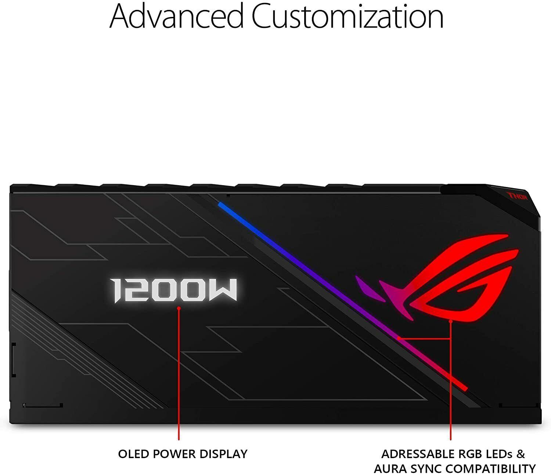 ASUS ROG THOR 1200w PSU OLED totalmente modular 80 + Platinum (10 años de garantía) ROG-Thor