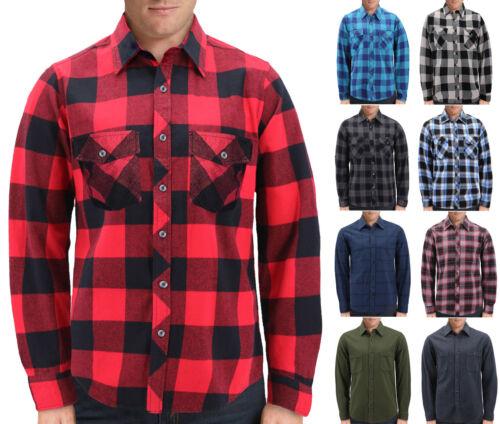 Men's Plaid  Long Sleeve Button Up Premium Cotton Comfortable Flannel Shirt