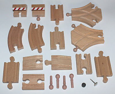 Holz-Eisenbahn 20 kleine kurze Schienen Kurven Magnete Nippel Set passend z Brio
