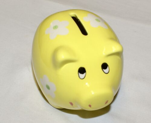 """Yellow Pig Coin Piggy Bank Ceramic with Flowers 4.25"""" NEW Shower Party Favor"""
