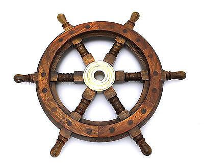"""Maritime Decorative  Ship Wheel – Handmade Hard-wood Ship Wheel 14"""""""