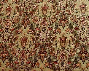 ST D15 RED GOLD FLORAL TRELLIS DESIGN TAPESTRY CURTAIN
