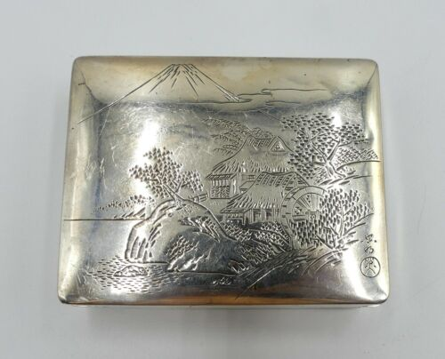 Antique Japanese Meiji Period silver & wood box