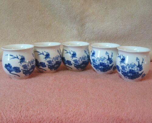 5 Chinese Japanese Floral Tea Sake Cups Cobalt Blue Porcelain Ceramic