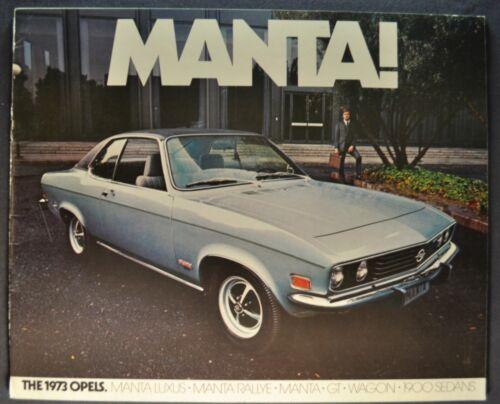 1973 Opel Brochure GT Rallye Manta Luxus 1900 Sedan Wagon Excellent Original 73
