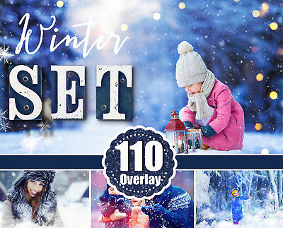 110 winter set Snow Winter Photoshop Overlays, Christmas сollection, Bokeh ()
