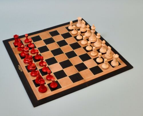 Antique English Staunton Chess Set  & Jaques Leather Chess Board c.1890