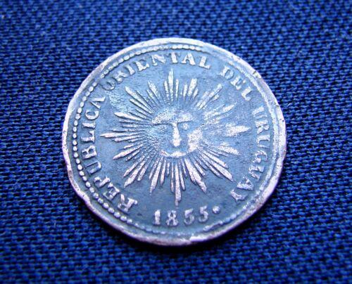 """URUGUAY RARE COIN 5 CENTESIMOS 1855 """"CINQUIÑO""""  KM#6"""