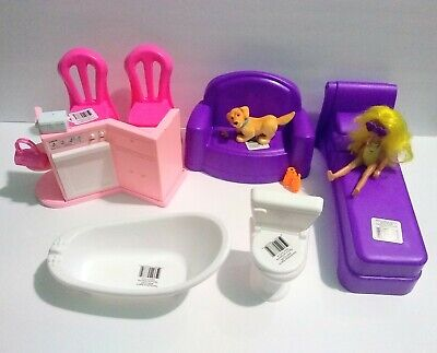 Child Barbie Doll And Furniture Lot NEW BATHTUB TOILET COUCH 2 CHAIRS BED