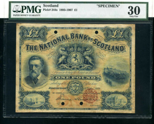 National Bank of Scotland 1 pound 1889 - P244s - Specimen VF-