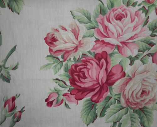 Gorgeous Antique Vintage Shabby Cottage Roses Cotton Fabric ~  Pink Green