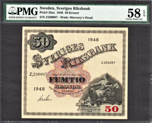 Sweden 50 Kronor 1948 Pick-35ac About UNC PMG 58 EPQ