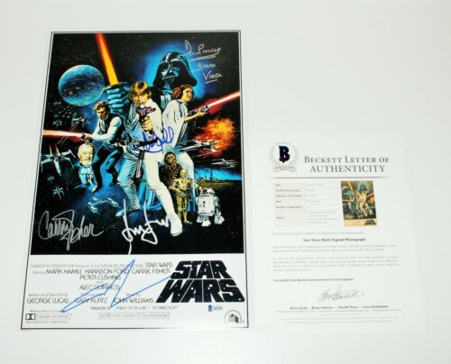 STAR WARS: EPISODE IV A NEW HOPE CAST SIGNED MOVIE POSTER COA X5 BECKETT COA BAS