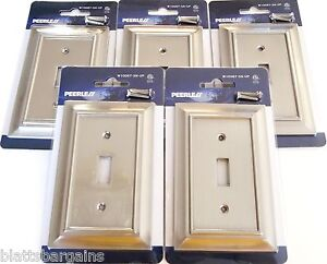 5 peerless satin nickel wall switch plate cover light. Black Bedroom Furniture Sets. Home Design Ideas