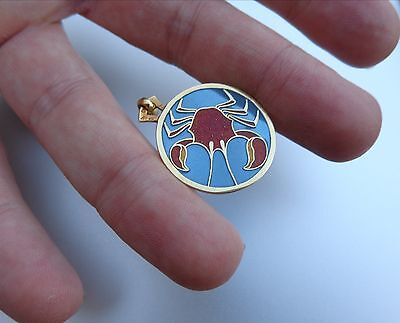 French Art Deco 18K Gold Enamel Cancer Zodiac Horoscope Arthus Bertrand Pendant!