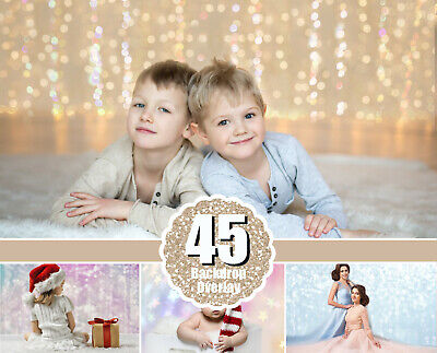 45 Digital Backdrop background texture bokeh, Christmas overlay, photo session ()