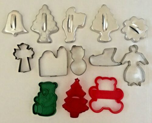 GREAT Collection of 13 Vintage Metal & Plastic Christmas Cookie Cutters