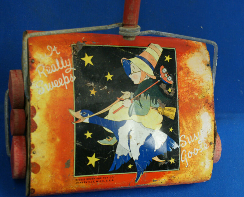 Vintage Kiddie Brush & Toy Co Susy Goose mother goose Tin Litho kids sweeper