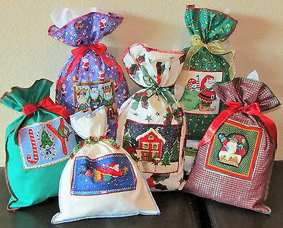 Christmas Fabric Gift Wrap Reusable Present Wrapping Bags    5 Large Bags