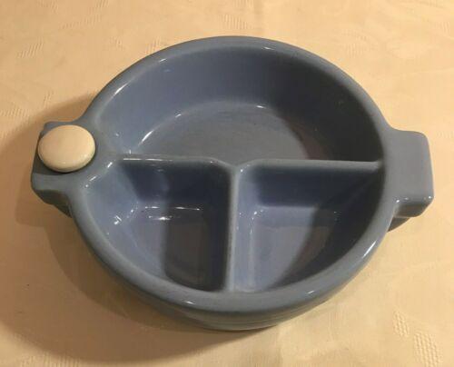 Vintage Hankscraft Divided Infant Baby Ceramic Blue Warming Dish