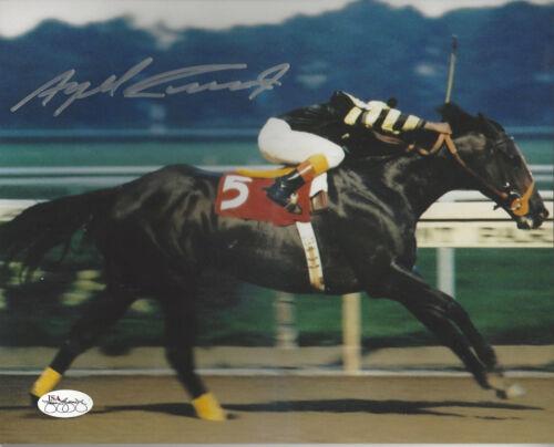 Jockey Angel Cordero autographed 8x10  photo riding Seattle Slew to victory JSA