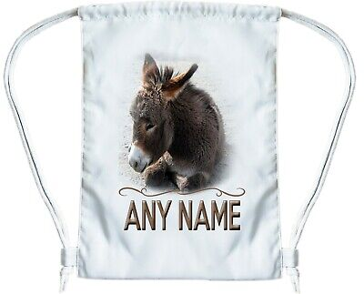 Personalized Book Bags For Girls (DONKEY Personalised Gym Bag for Boys or Girls Drawstring Gymsac PE Book Bag)