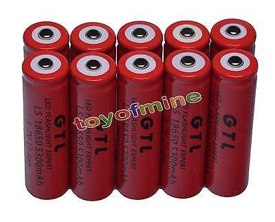 10x 3.7V 18650 GTL Li-ion 5300mAh Red Rechargeable Battery for LED Torch USA on Rummage