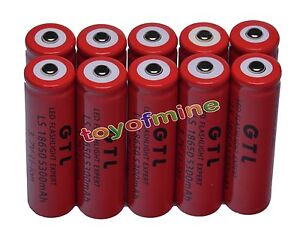 10x 3.7V 18650 GTL Li-ion 5300mAh Red Rechargeable Battery for LED Torch USA