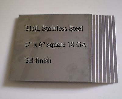 "12 pcs 316L 18 Ga 6"" x 6"" Stainless Steel Plate for HHO generator cell"
