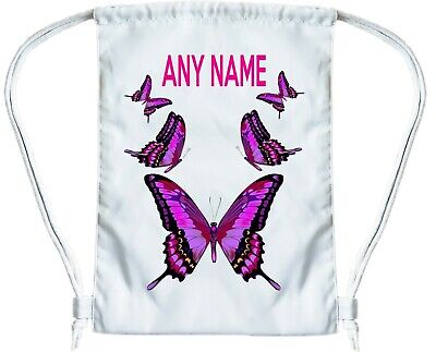 BUTTERFLY Personalised Gym Bag for Boys or Girls Drawstring Gymsac PE Book Bag