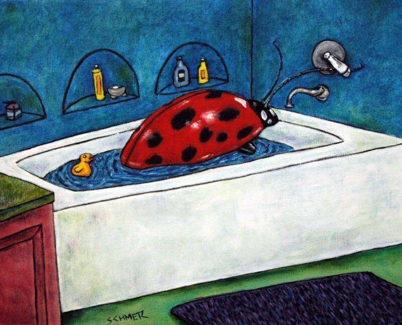 LADYBUG lady bug art  bathroom bather  13x19 insect GLOSSY PRINT