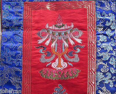 LONG TIBETAN BUDDHIST 8 LUCKY SYMBOLS EMBROIDERED BROCADE BANNER WALL HANGING
