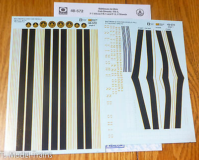 Microscale Decal O #48-572 Baltimore & Ohio F and FA Cab Units (Decals)
