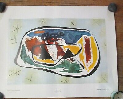 """Joan MIRO """"COMPOSITION,1930"""" 1980's Art Print Poster 22.5"""" x 28.5  Abstract"""