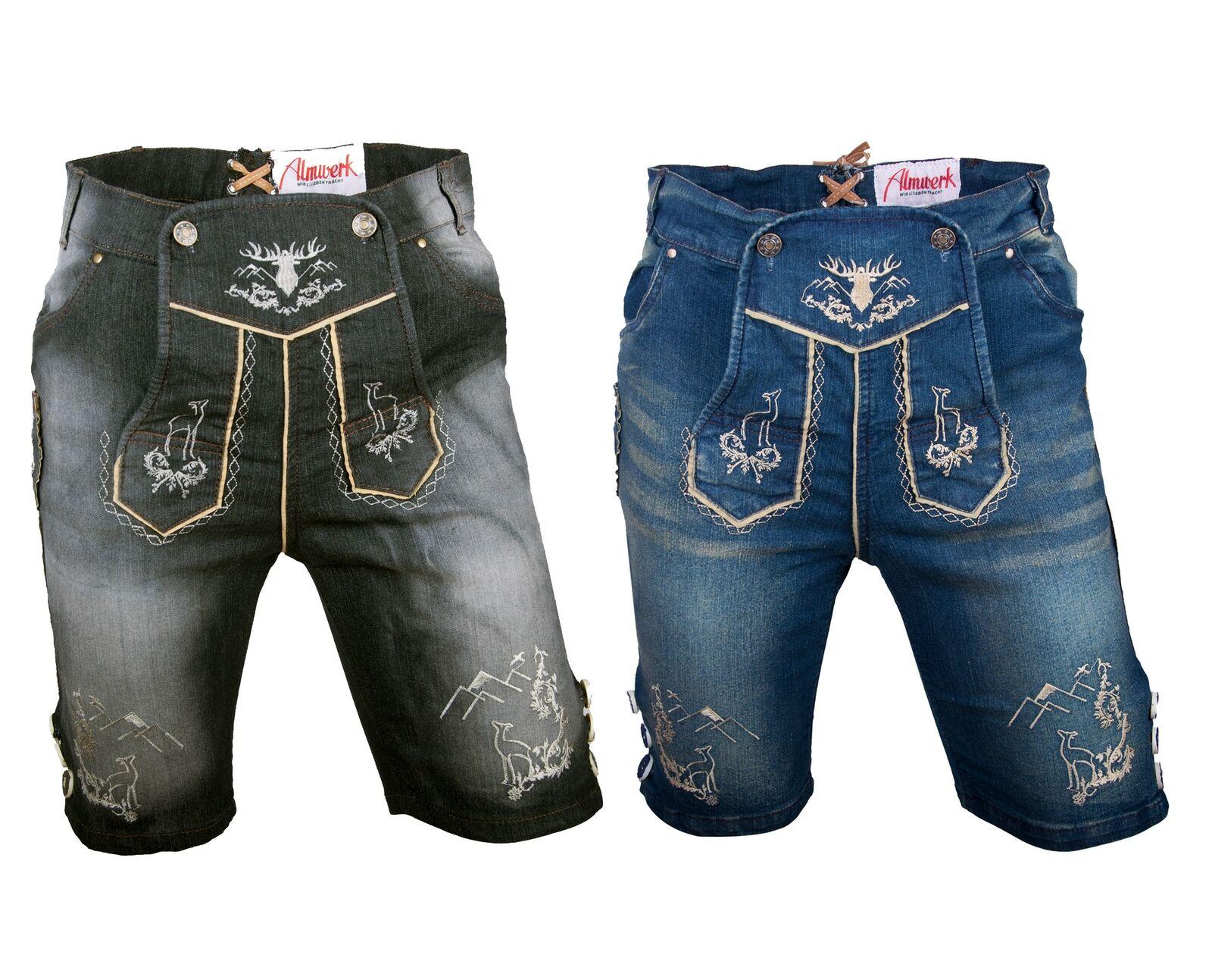 Almwerk Herren Trachten Jeans Lederhose kurz Platzhirsch in schwarz und blau