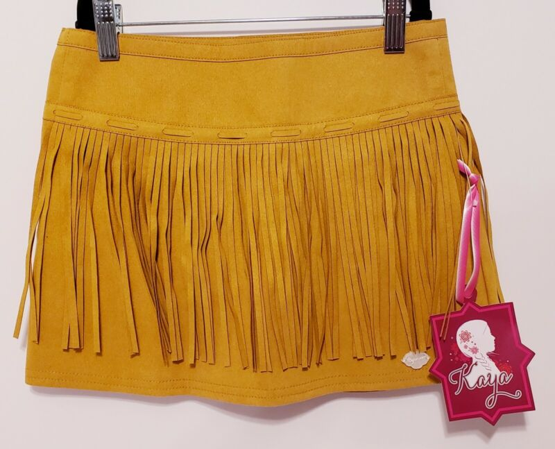 NWT Native American Girl Kaya Beforever Fringed Suede-like Skirt Nez Perce