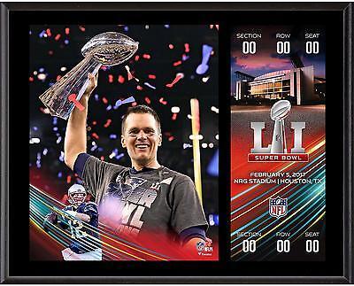 Tom Brady New England Patriots 12x15 Super Bowl LI Plaque with Replica Ticket